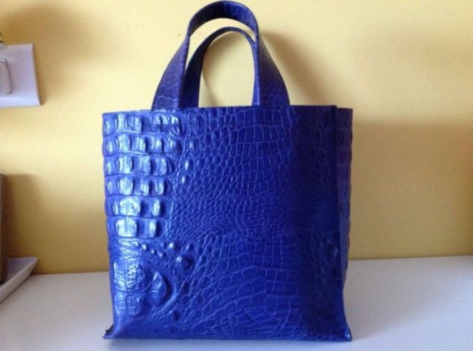Furla δερμάτινη μπλε τσάντα, τύπωμα. Photo 1