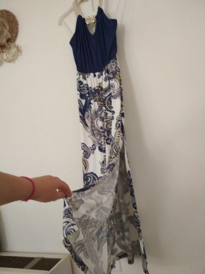 Μακρύ φόρεμα με μοτίβο και ανοιχτή πλάτη (Gianni Rodini, no 1). Photo 1