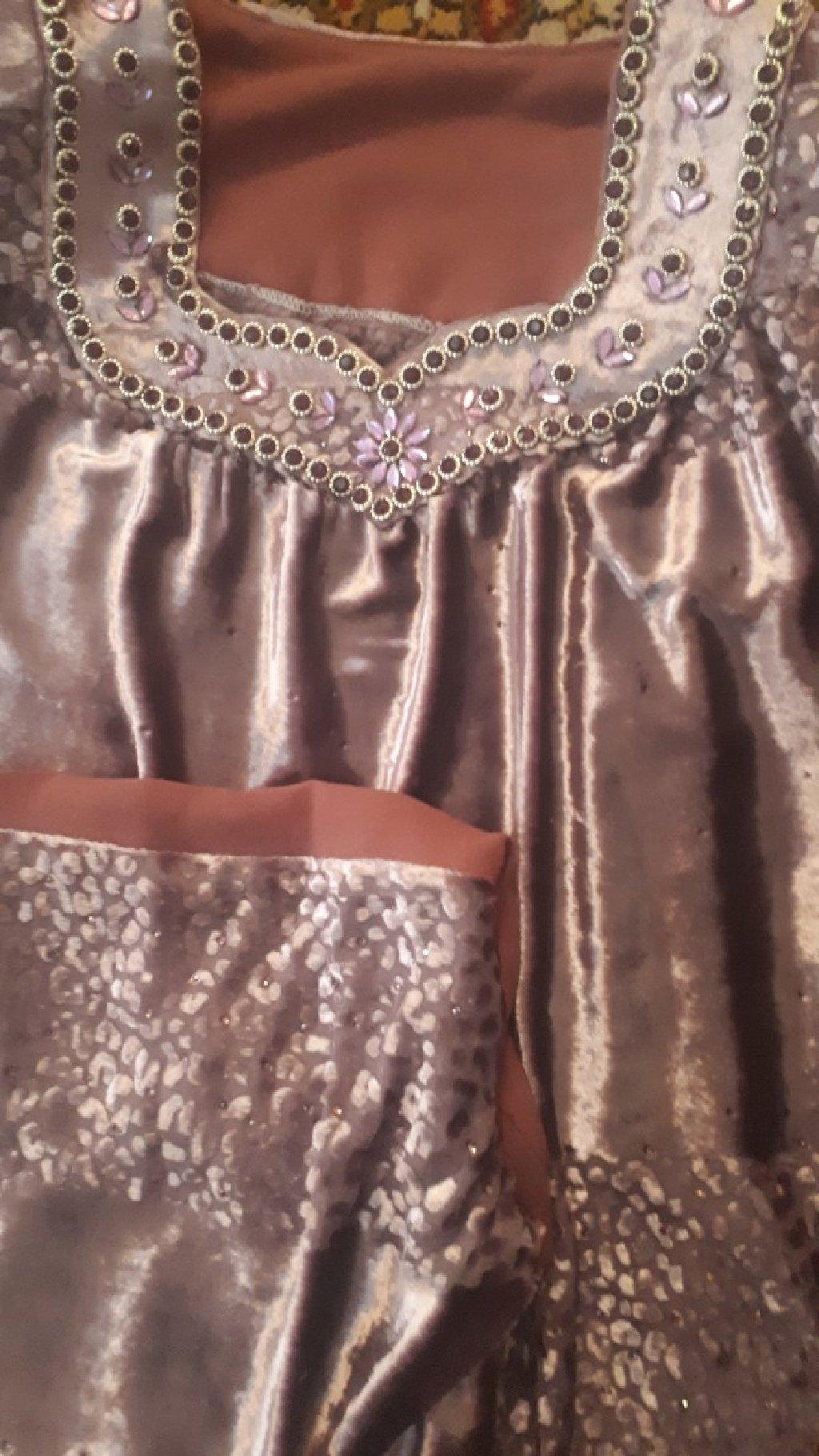 Национальное новое женское платье материал помбархт,цвет бледно фиолетовый