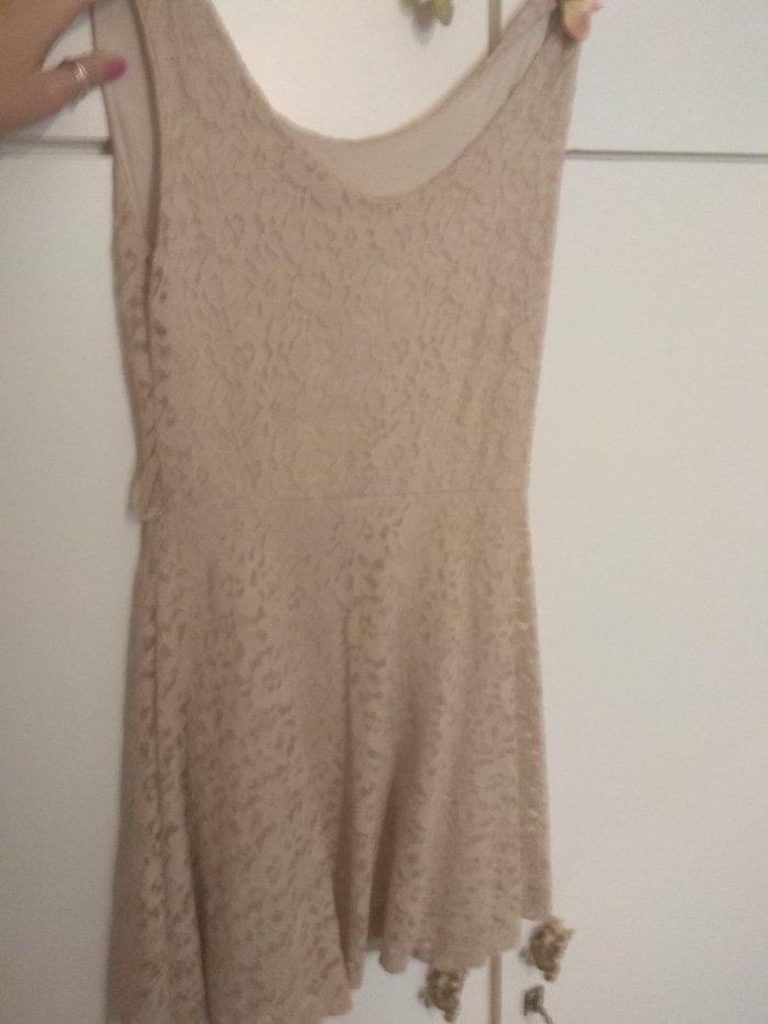 Δαντελένιο μπεζ φόρεμα κοντό Το νούμερο είναι εικονικό. Photo 1
