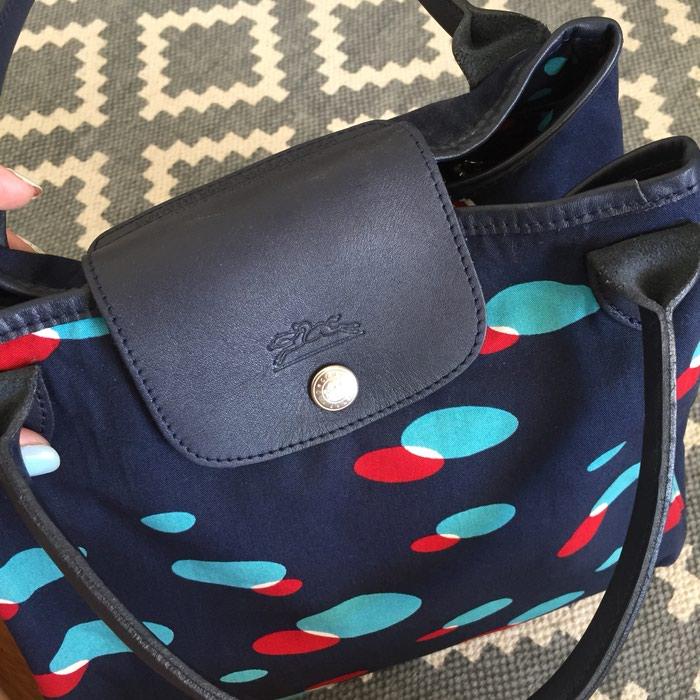 Longchamp canvas υφασμάτινη τσάντα. Σε σκούρο. Photo 5