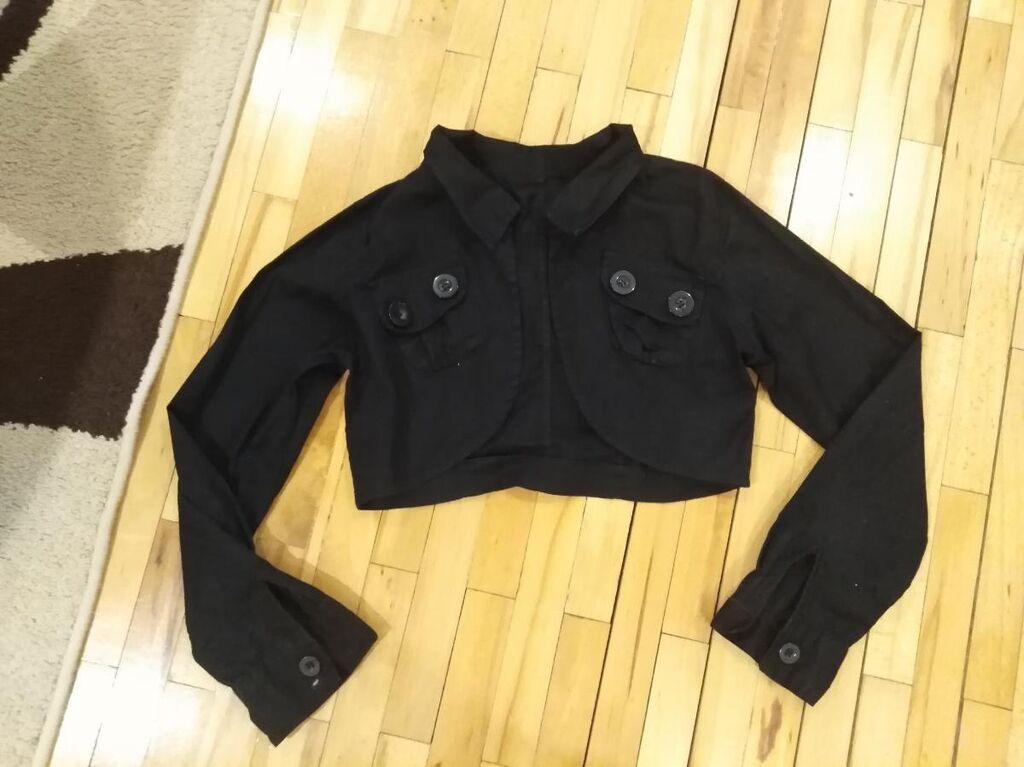 Crna crop jakna - bolero sa dugim rukavima