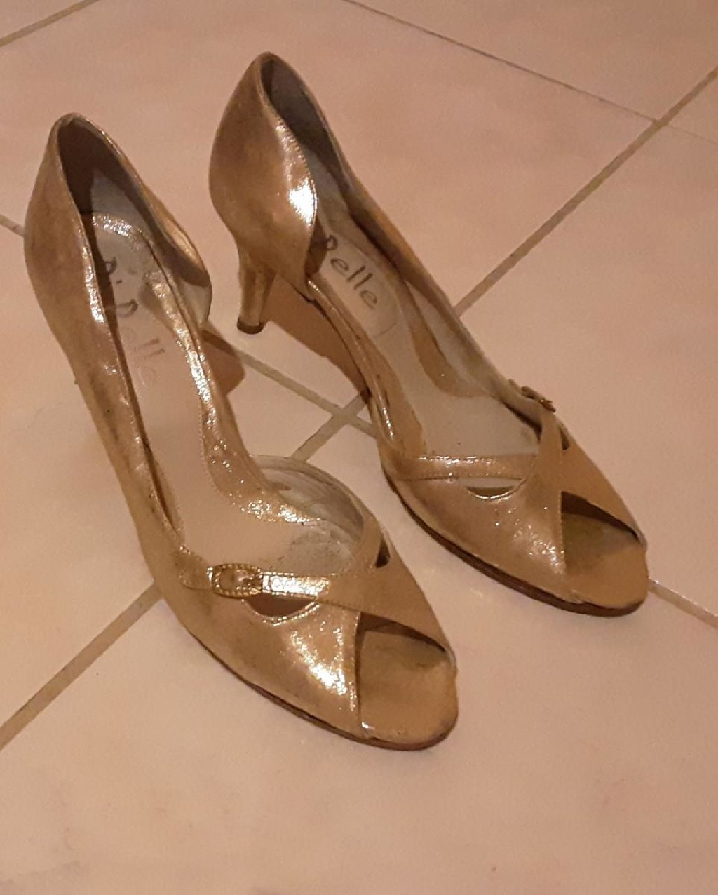 Peep Toe χρυσά, νο39, φορεμένα 1 φορά (κωδ. 102)