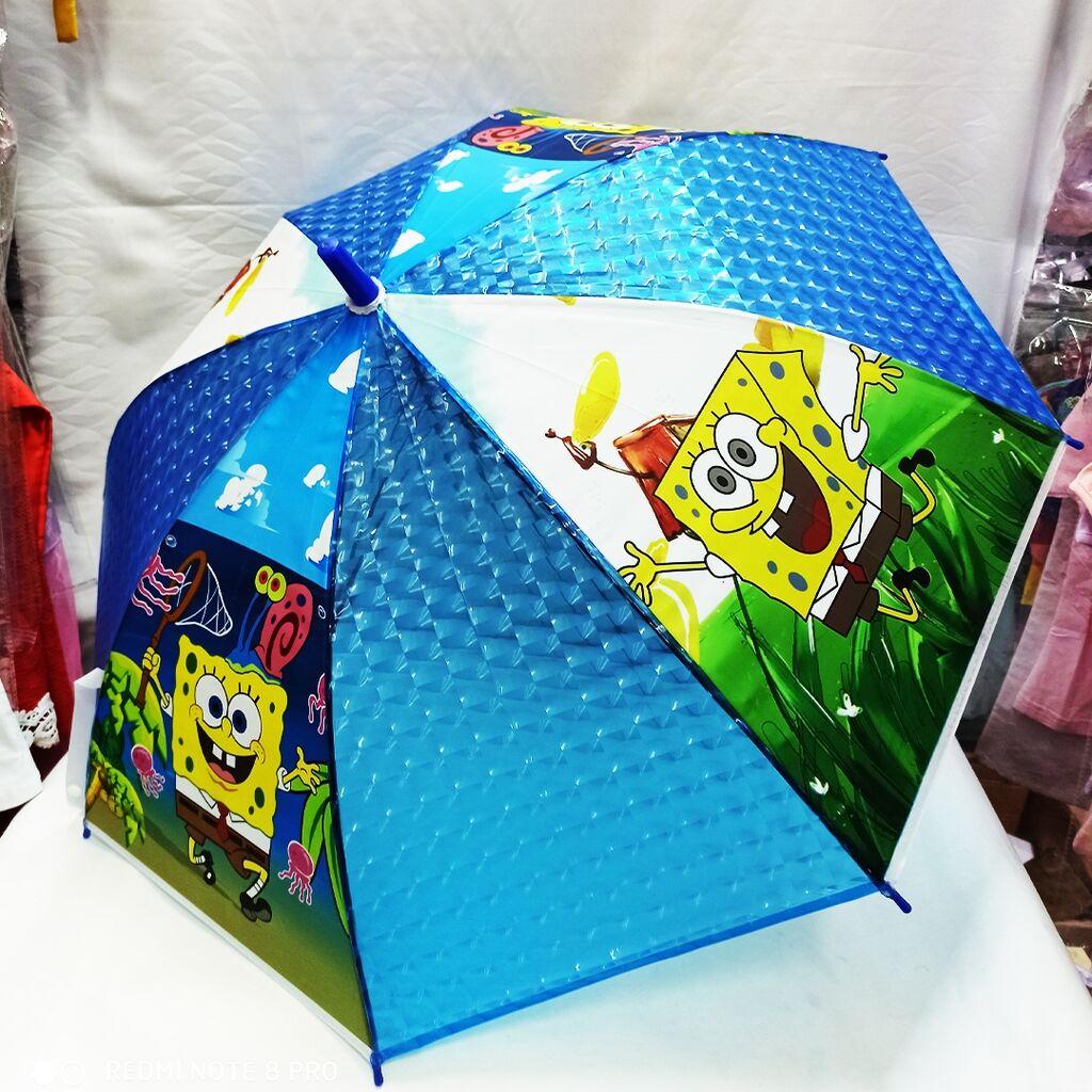 Детский полуавтоматический зонтик со Спанч Бобом!! Водоотталкивающая основа!!