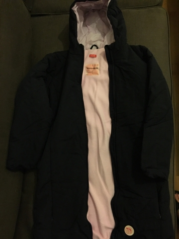 ELLE Girls jacket black with pink fleece lining