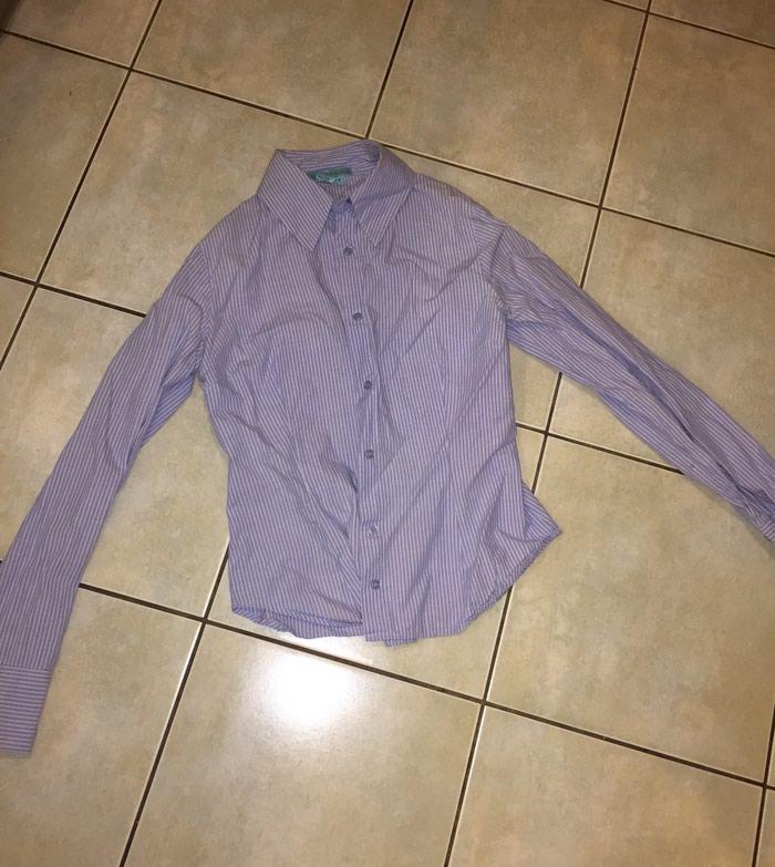 Ριγέ μπλέ λευκό γυναικείο πουκάμισο βαμβακερό . Νο small . Αφοπρετο