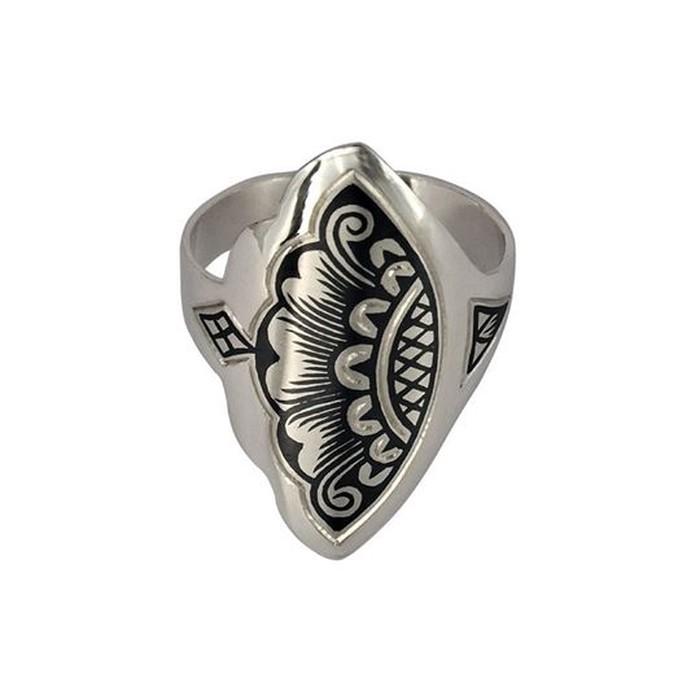 Δαχτυλίδι από ασήμι 925° με χειροποίητο σχέδιο τεχνοτροπίας νίελου