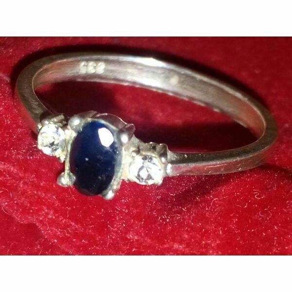 Ασημενιο δαχτυλιδι με μπλε πετρα με σφραγιδα γνησιοτητας 835 σε Υπόλοιπο Πειραιά