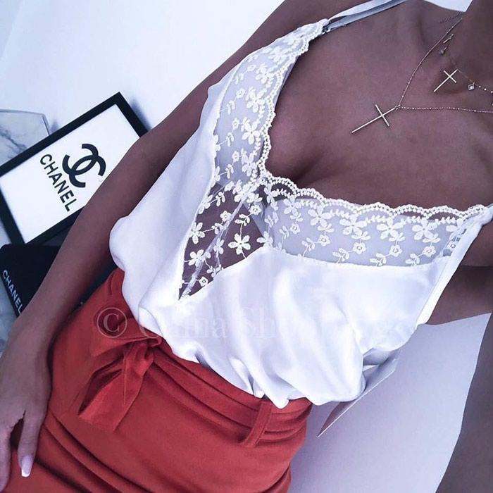 Elegantne saten majice sa cipkicom NOVO!