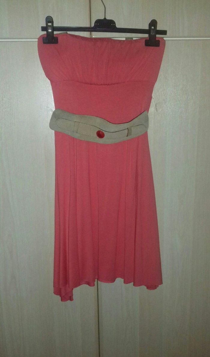 Βραδινό φόρεμα, One size, αφόρετο, χρώμα : καρπουζί, το μάκρος του φτάνει ως το γόνατο περίπου για γυναίκα ύψους γύρω στο 1