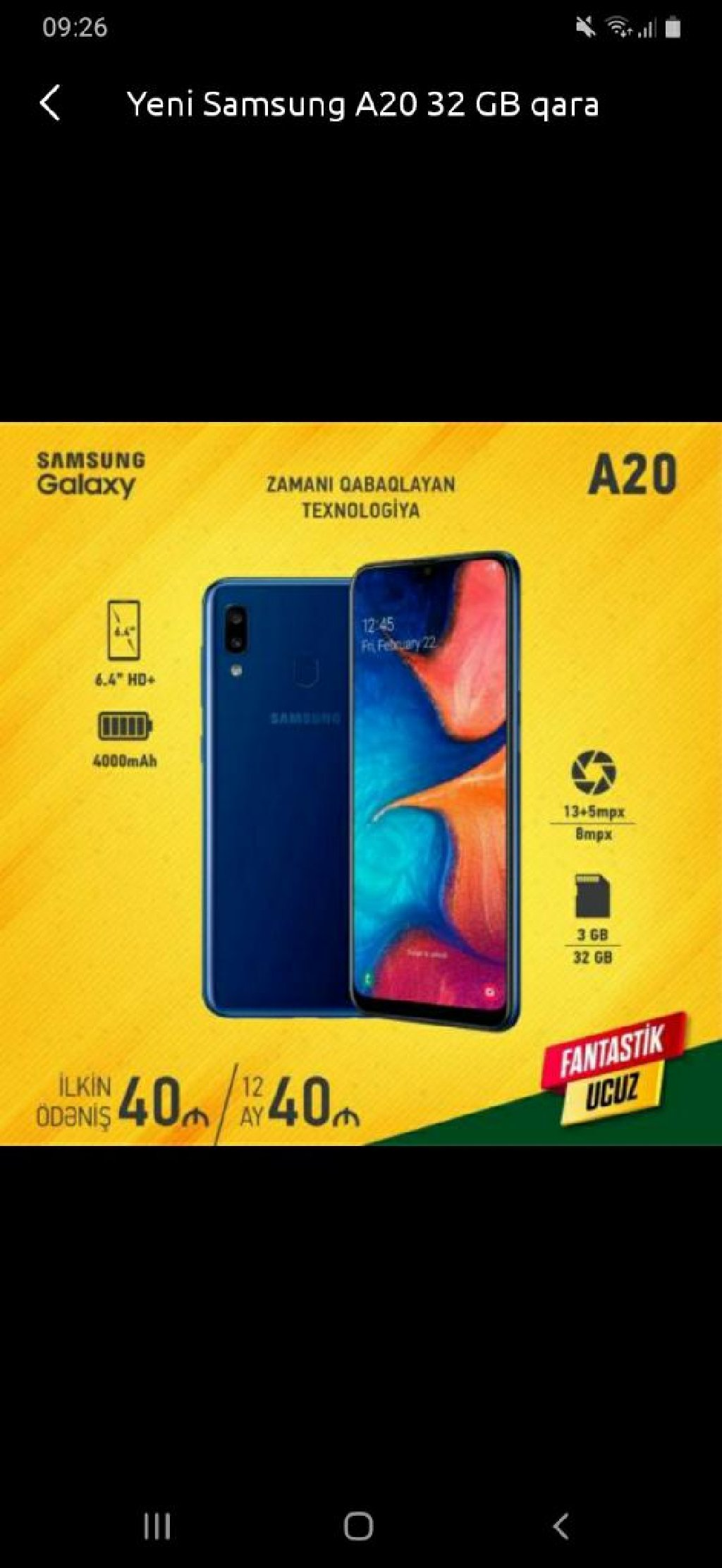 Yeni Samsung A20 128 GB