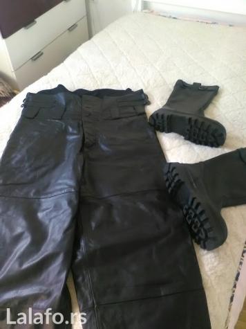 Nove kožne pantalone sa visokim strukom. Pantalone i nove čizme su - Beograd