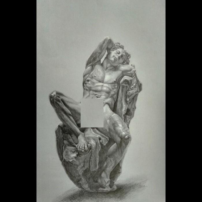 """Άγαλμα σχέδιο σε χαρτί """" Κοιμώμενος Σάτυρος """""""