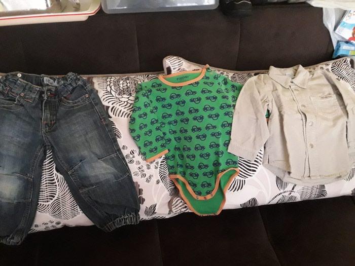 Ostala dečija odeća - Beograd: Bebi garderoba set velicina 86 sastoi se od farmerke kao nove, kosuljica no no, bodi, donji deo trenerke