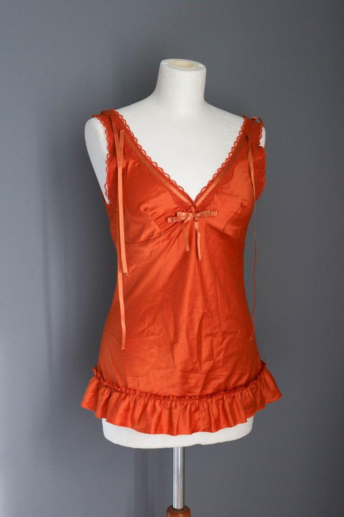 Zara πορτοκαλι σατινε cami τοπ