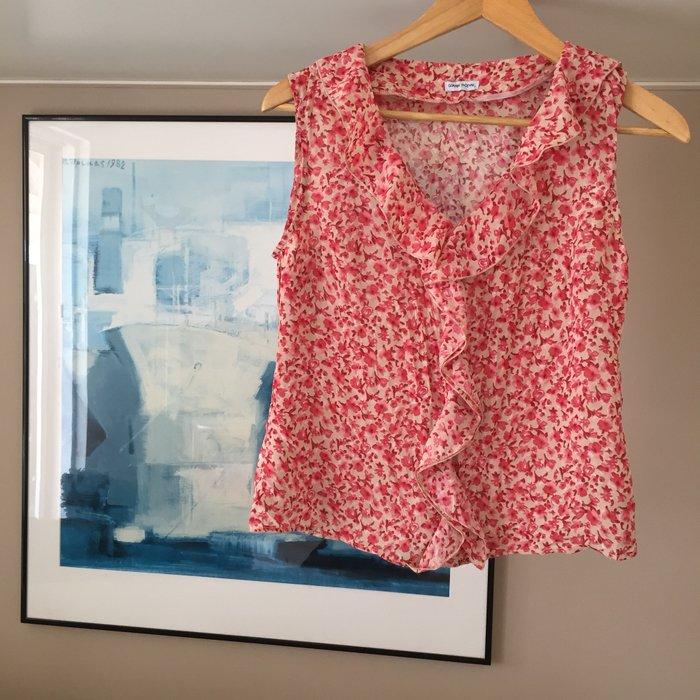 Gianni Rodini αμάνικη, floral μπλούζα με βολάν. Photo 4
