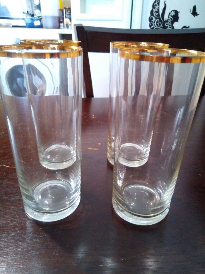 4 ποτηρια νερου με χρυσο στομιο αχρησιμοποιητα.. Photo 0
