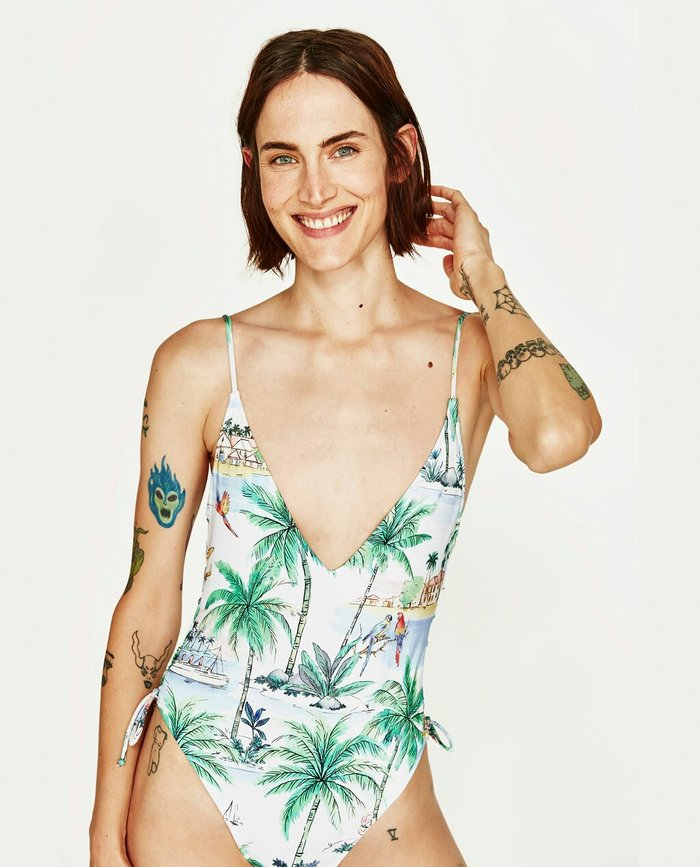 Μαγιό zara ολόσωμο multicolor printed swimsuit v-neck. Photo 1
