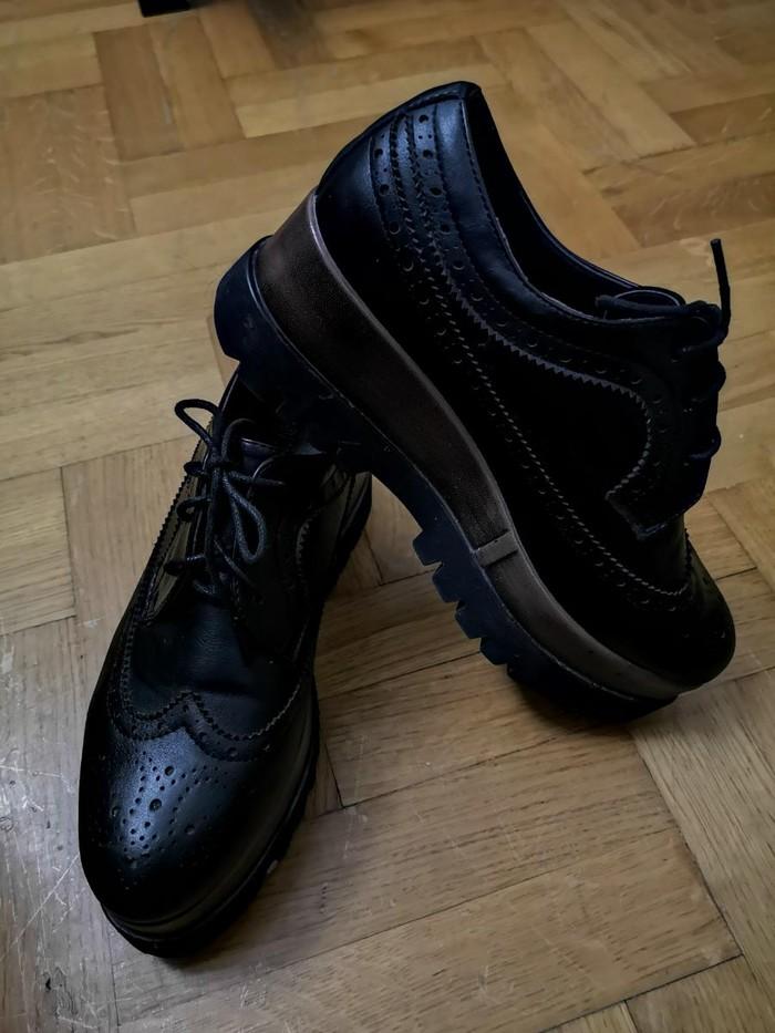 Παπούτσια μαύρα τύπου δερμάτινα, Oxford platform , νουμερο 40