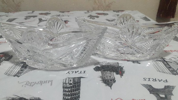 Хрустальные вазы лодочки. Чешское стекло. Торг уместен.. Photo 0