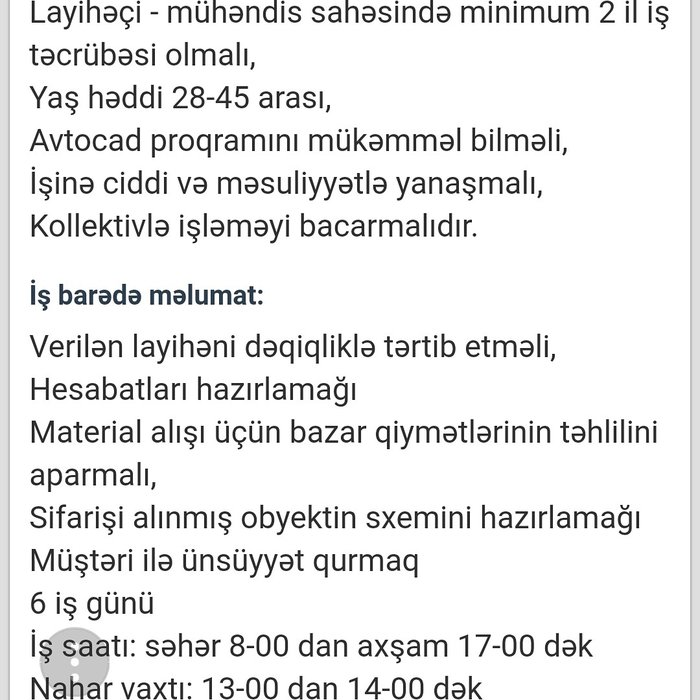 Bakı şəhərində Maaş800-1000azn.sırf havalandırma uzre mutexessis memar teleb olunur.