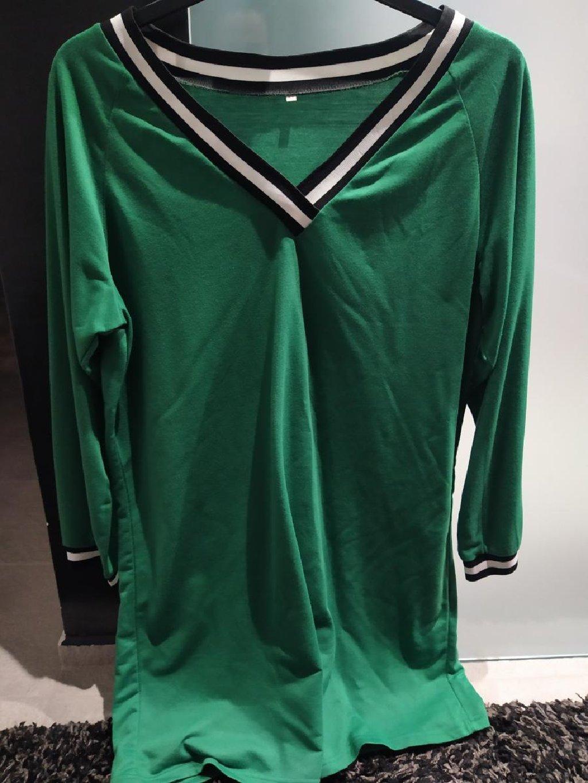 Πράσινο φόρεμα με μακρύ μανίκι μέχρι το γόνατο, αφορετο, μέγεθος l -xl, φουτερ
