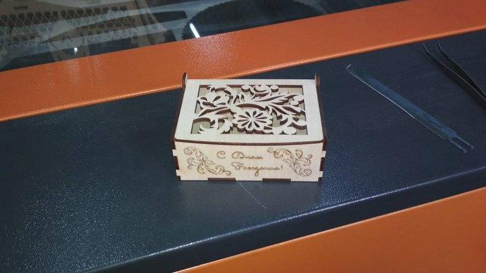 Шкатулка с днем рождения, материал фанера 3мм, размеры 117х80х50мм, цена 150сом оптом скидка