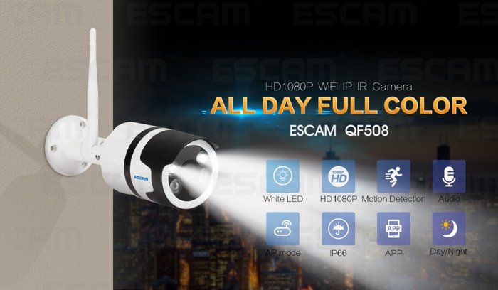 Escam qf508 HD 1080 P Simsiz WIFI IP Kamera Outdoor IP66 Suya davamlı. Photo 6