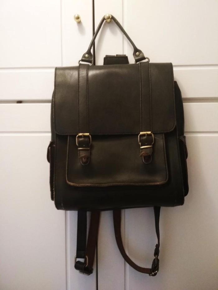 Δερμάτινη πράσινη τσάντα πλάτης, vintage σχέδιο. Photo 0