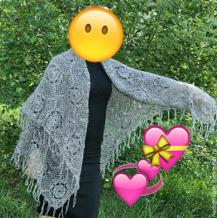 Шаль- платок вязанный крючком, мягкий как пух. Теплый, цвет серый. . Photo 0