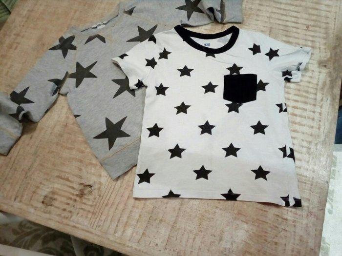 H&m βαμβακερα  μπλουζακια με αστερια για 3μιση -4μιση ετων