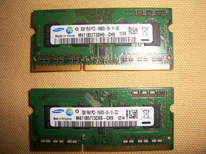 4 τεμάχια 2GB Ram DDR3 204pin για Laptop. Photo 0