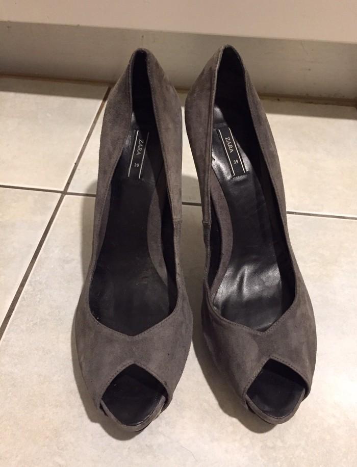 Zara suede ανθρακί peep toes . Καινούργια .. Photo 1