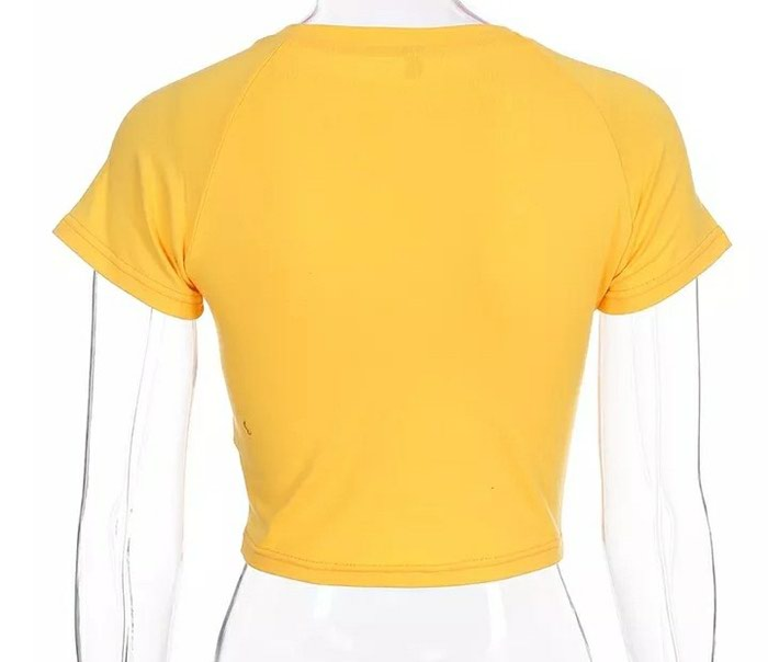 Yellow crop top με σχεδιο , νούμερο: S δεν έχει φορεθεί ποτέ. Photo 1