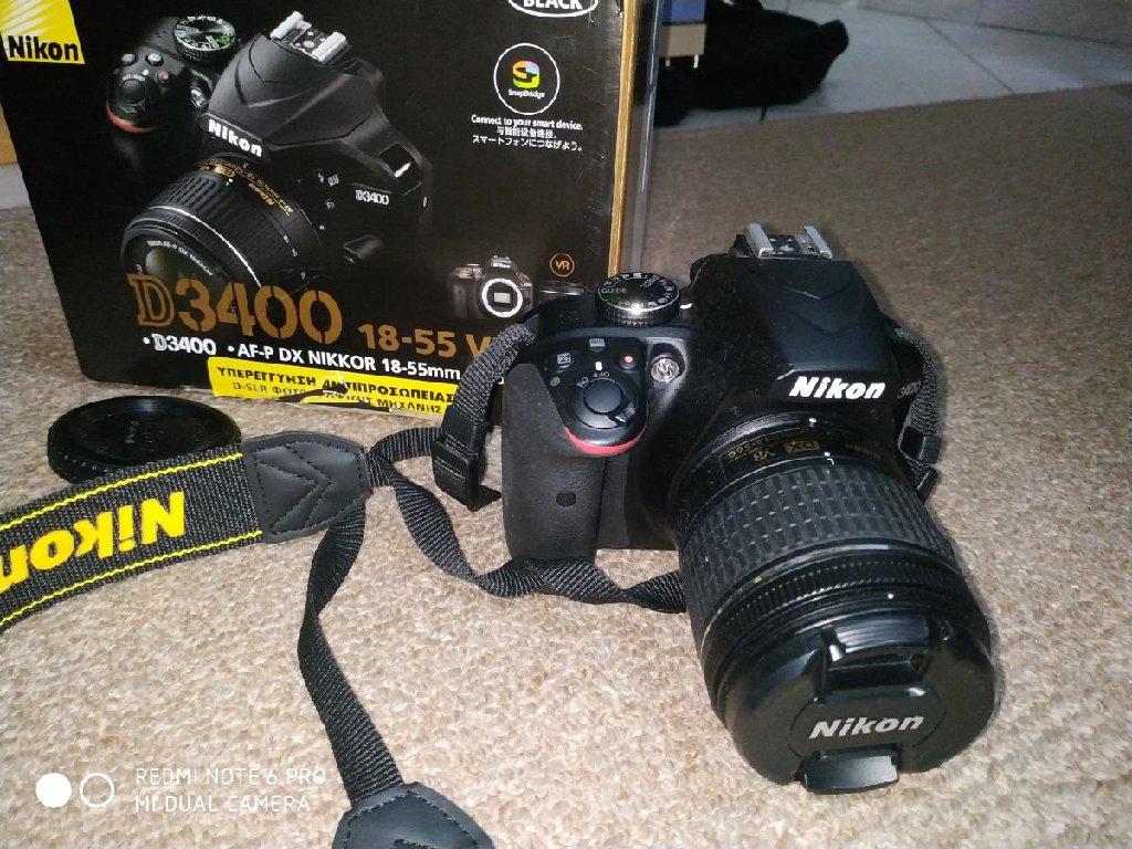 Κάμερα Nikon D3400  με φακό18-55 Vr kit Σε τέλεια κατάσταση χρησιμοποιημενει ελάχιστες φορές!! Με δώρο δύο κάρτες μνήμης! Μεταφορές σε όλη την Ελλάδα!