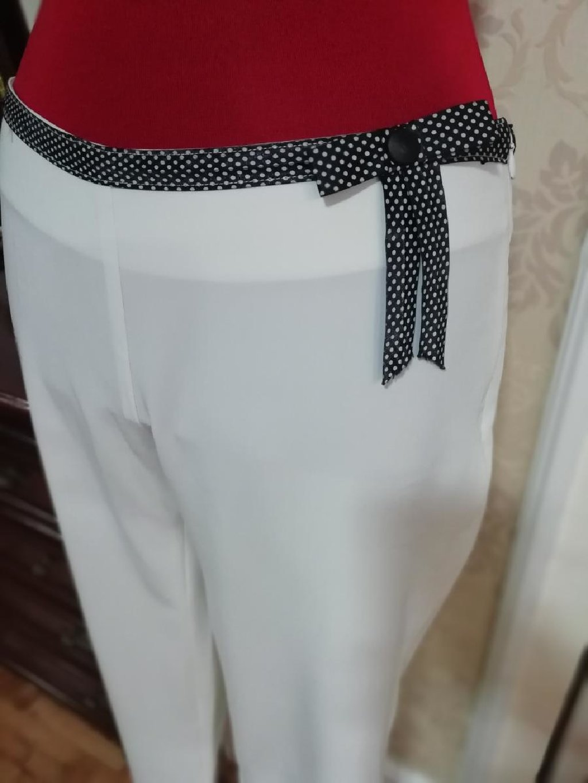 Happening pantalone bele svilene L vel