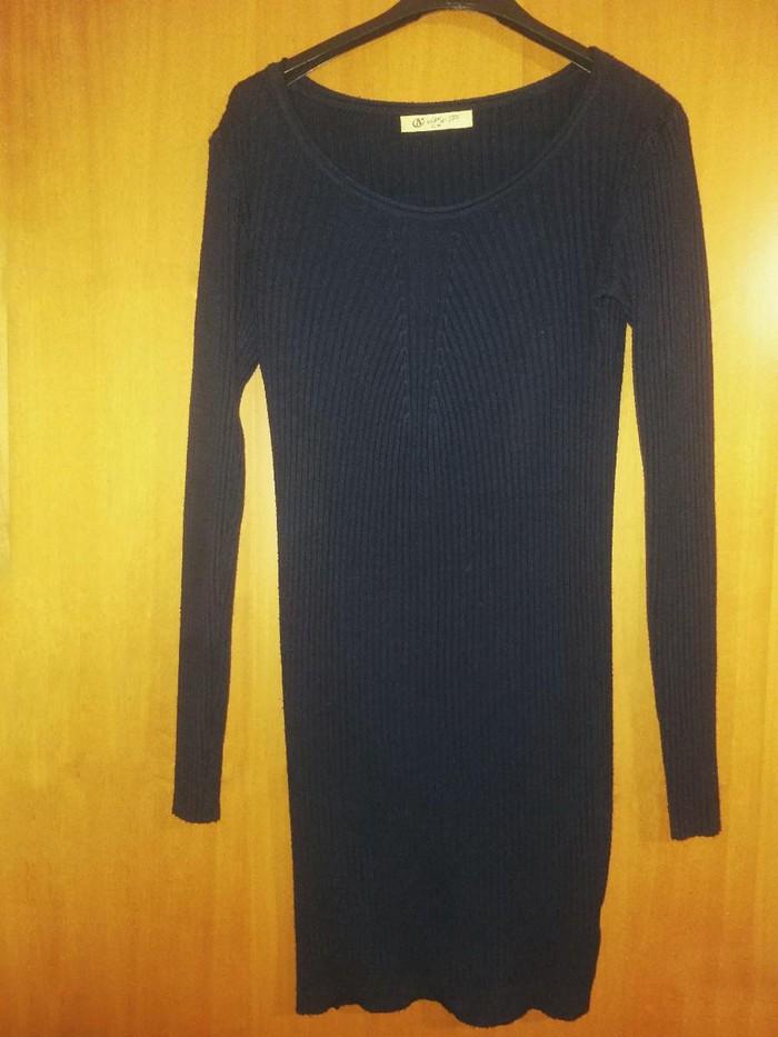 Πλεκτό στενό φόρεμα μπλε σκούρο Νούμερο: Small-Medium. Photo 0