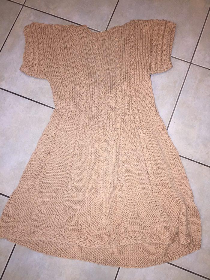 Μπεζ - αμμου πλεκτό κοττόν καλοκαιρινό μινι φορεμα . Photo 3