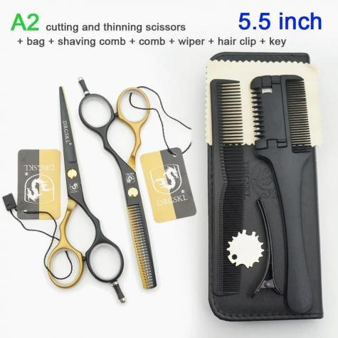 Yeni iki renkli baskı kuaför saç kesme makası 5