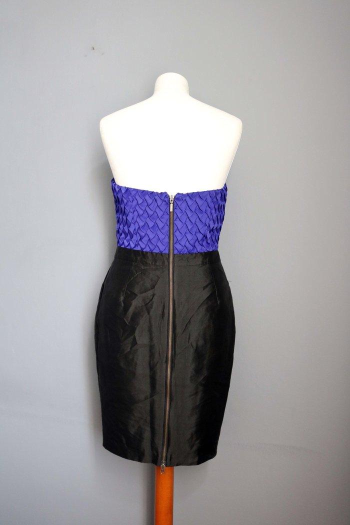 Γυναικείος ρουχισμός - Περιφερειακή ενότητα Θεσσαλονίκης: Reiss  επωνυμο μπλε-μαυρο μεταξωτο φορεμα με ιδιαιτερο μπουστο