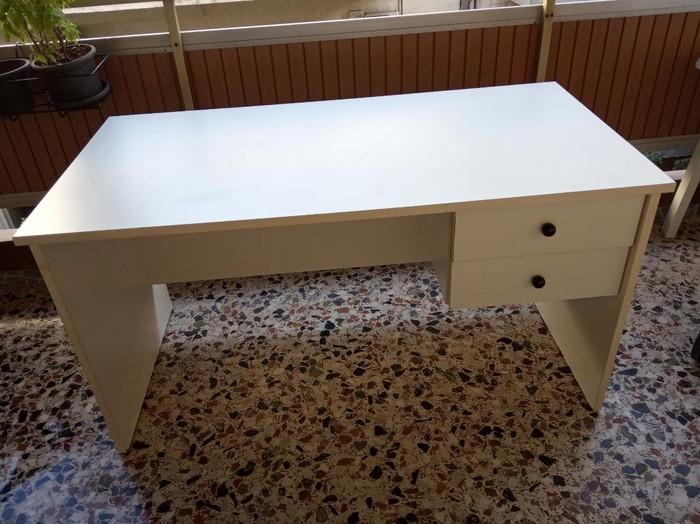 Γραφείο 140cm μήκος 70cm πλάτος 74cm ύψος λευκό με δύο συρτάρια