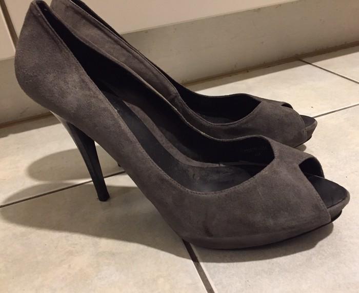 Zara suede ανθρακί peep toes . Καινούργια .. Photo 6