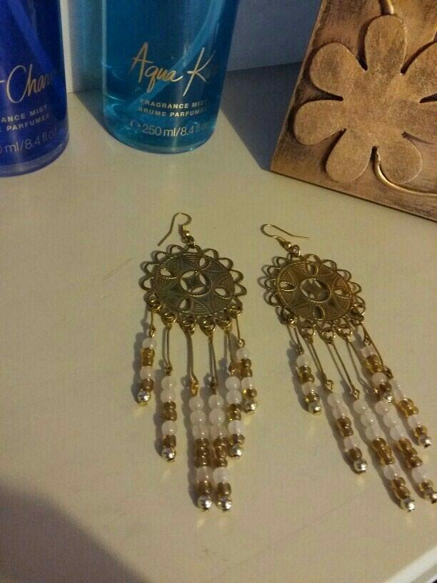 Έθνικ μακρυά σκουλαρίκια χειροποίητα χρυσό /ροζ ,δωρεάν αποστολή. Photo 2