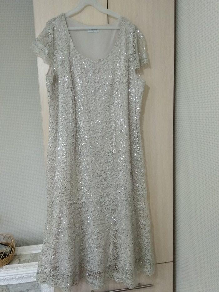 Вечернее платье ,новое.52размера. белое,гипюр + паетки. . Photo 0