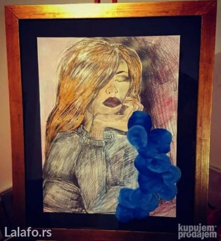 Devojka 55x45 kombinovana tehnika umetnicka slika akedemski slikar - Sabac