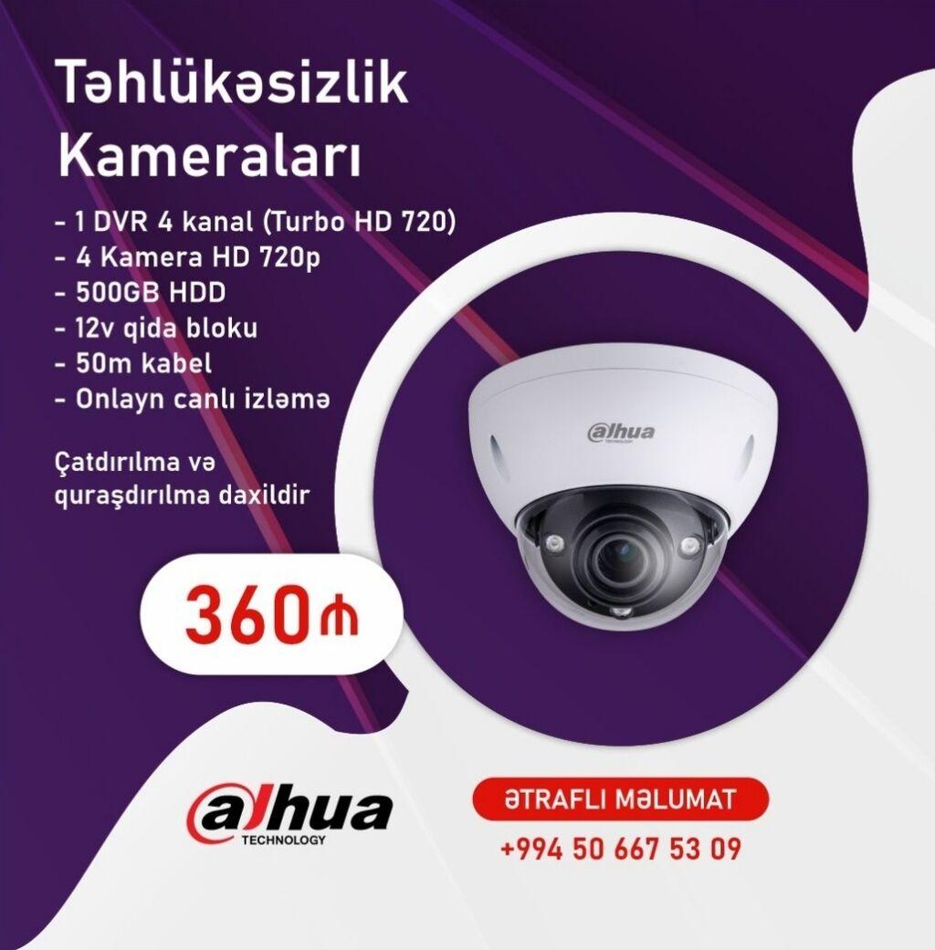 ▶️ 1 DVR 4 kanal (Turbo HD 720) ▶️ 4 Kamera HD 720p (İçəri Çöl)▶️: ▶️ 1 DVR 4 kanal (Turbo HD 720) ▶️ 4 Kamera HD 720p (İçəri Çöl)▶️