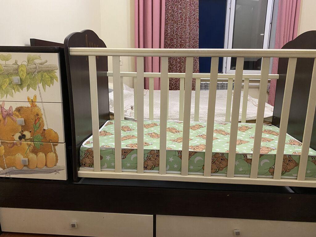 Детская кроватка трансформер + ортопедический матрас, ( балдахин и бортики в подарок)