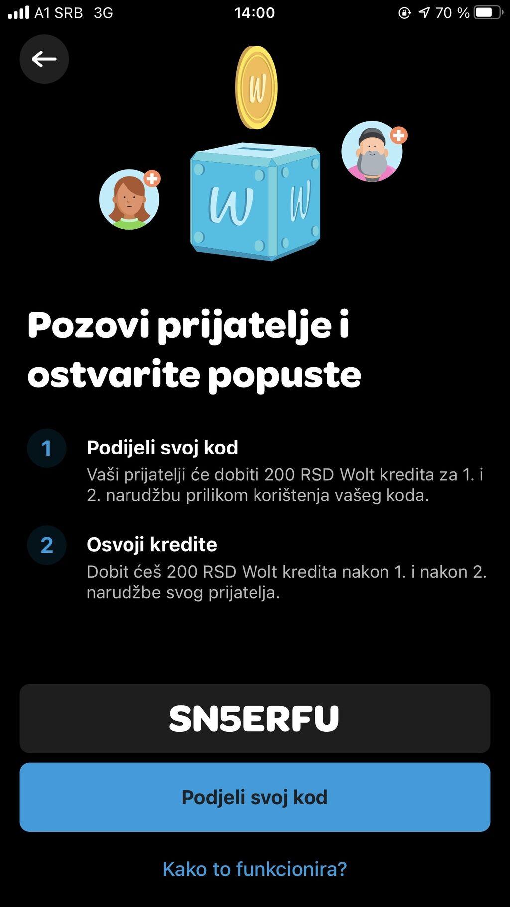 Preuzmi aplikaciju Wolt i ukucaj moj promo kod SN5ERFU za specijalni p | Oglas postavljen 07 Avgust 2021 12:01:29 | OSTALI POSLOVI: Preuzmi aplikaciju Wolt i ukucaj moj promo kod SN5ERFU za specijalni p