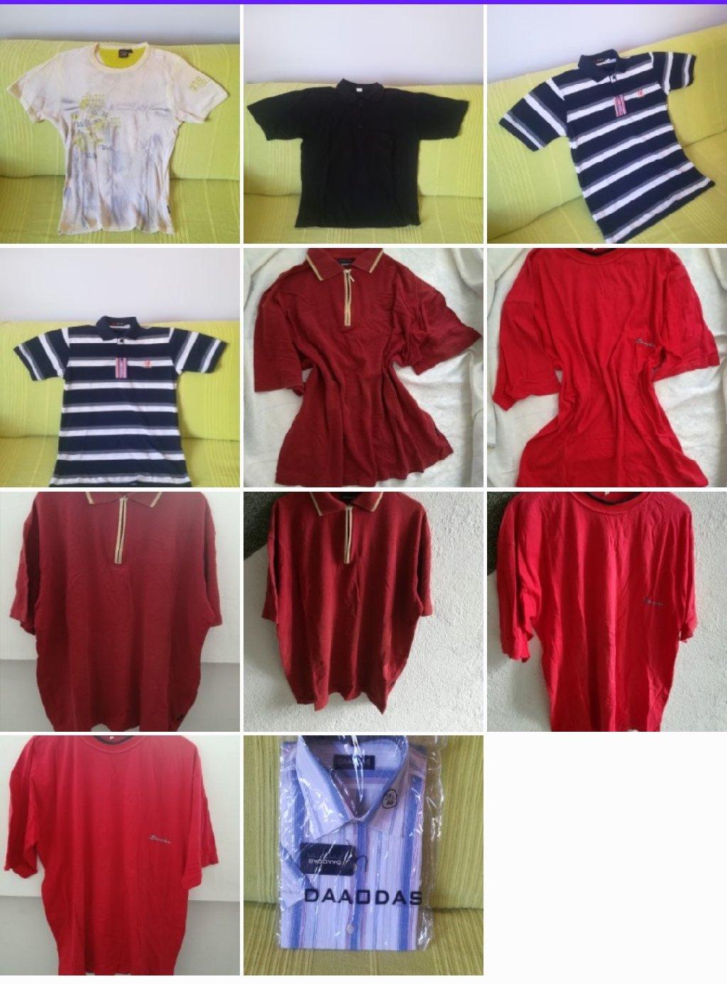 Paket majica kratak rukav 4 kom sve za 400  din, vel XL, košulja nije nošene, sa etiketom, 2 majce crvene i jedna bela nošene ali u dobrom stanju