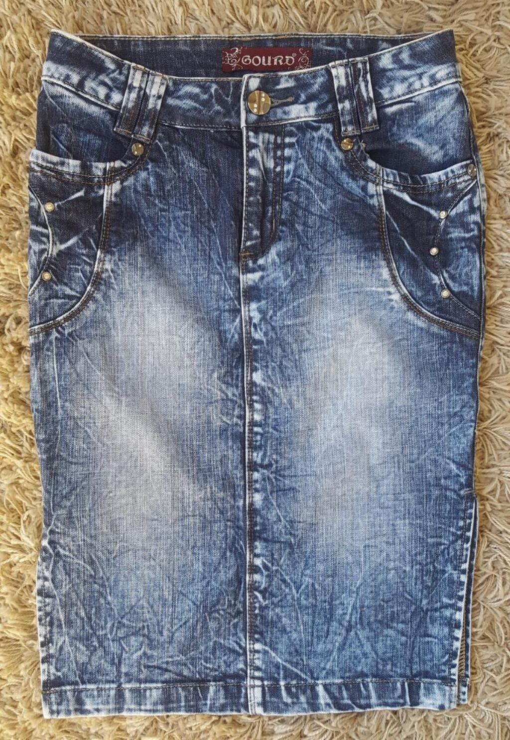 Midi teksas suknja sa slicevima sa strane